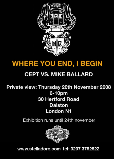 invite backweb 450x629 Cept vs Mike Ballard, Where You End, I Begin show at Stella Dore, November 20