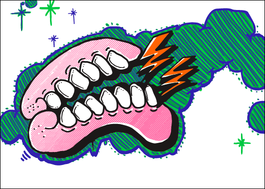 Sweet Toof 'Electrifying Gums' print at Nelly Duff