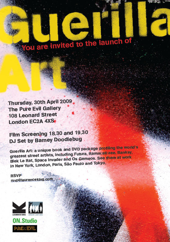 guerilla art launch invite Diary date: April 30 at Pure Evil