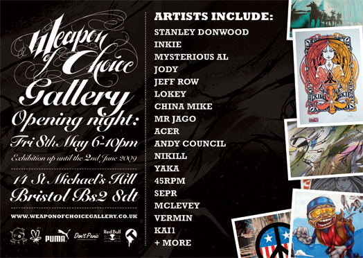 new opening flyer 2 1 Diary date: May 8, Weapon of Choice gallerys opening night