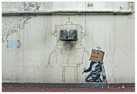 banksy box head robot london u 450x311 More new Banksy work in London