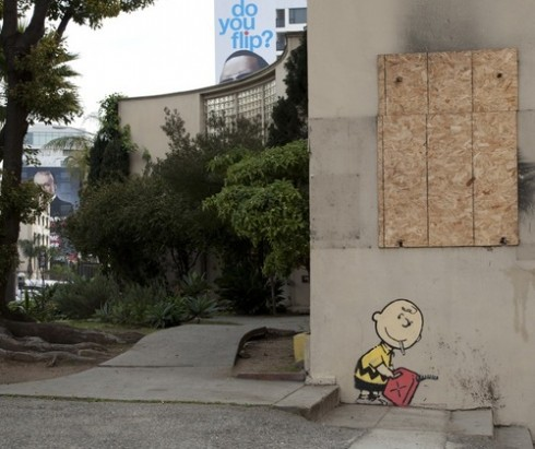 charlie 72 thumb 490x411 Video: Banksy in LA   Charlie Brown the Arsonist   2/15/11