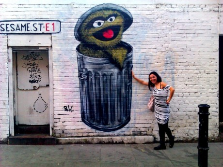blam on hanbury street shoreditch 460x346 Blam repaints Oscar The Grouch on Hanbury Street
