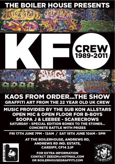 KFO flyer jpeg 460x652 Exhibition: KFO Graffiti at The Boiler House Gallery, Cardiff