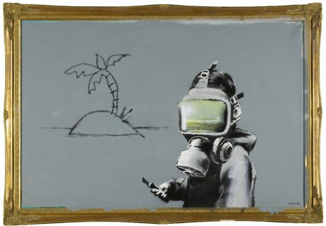 arrestedmotion1 460x319 Banksy  Gas Mask Boy piece at Sothebys