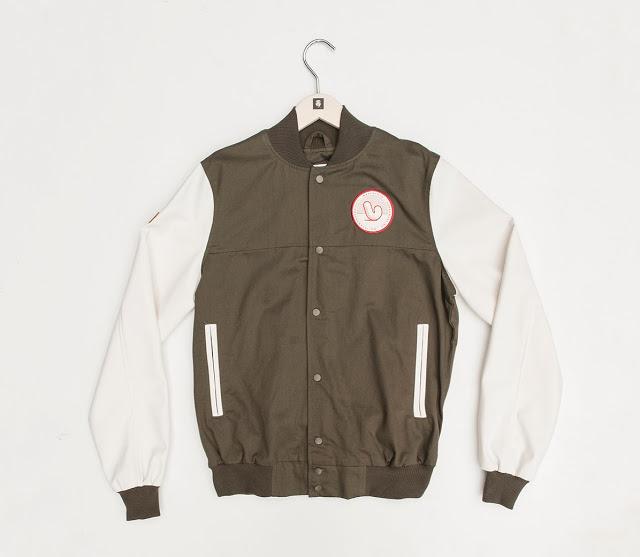 Mr Penfold Green f Mr Penfold White Canvas Project Varsity Jacket