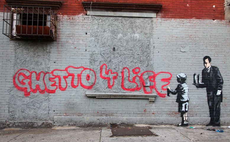 "Banksy ""Ghetto 4 Life"" in South Bronx"