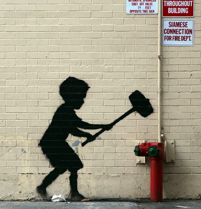 "Banksy ""Hammer Boy"" Upper West Side"