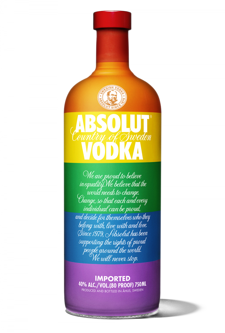 Absolut celebrates with a pride flag bottle