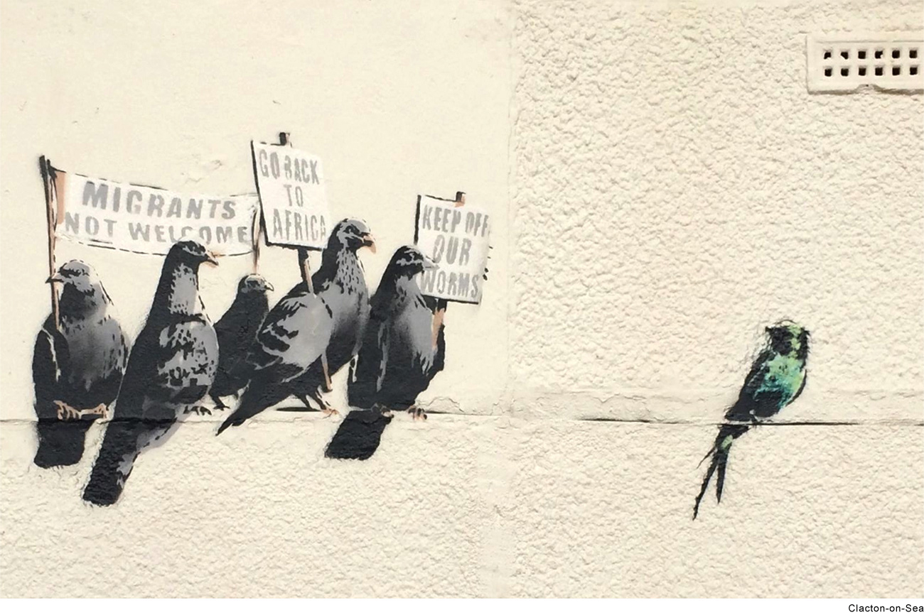 Migrant birds banksy piece taken down in clacton uk for Banksy mural painted over