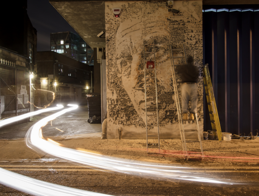 New Vhils work in London + Lazarides Exhibition