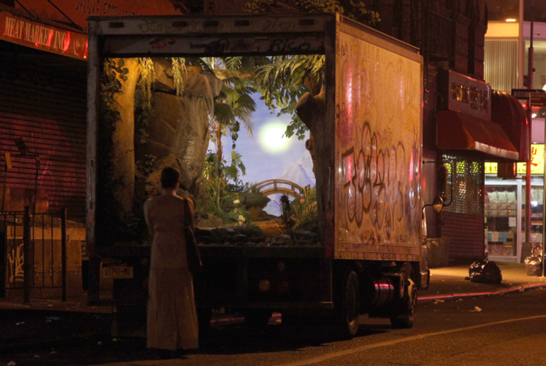 Banksy converts a delivery truck into a mobile garden in New York